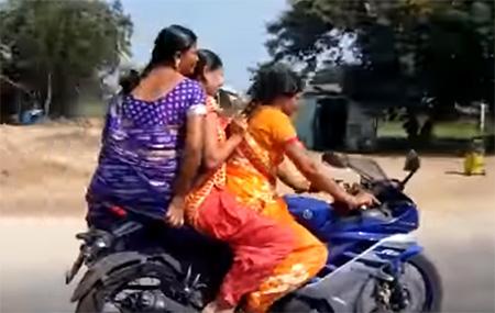 Saree women triple ride R15 bike