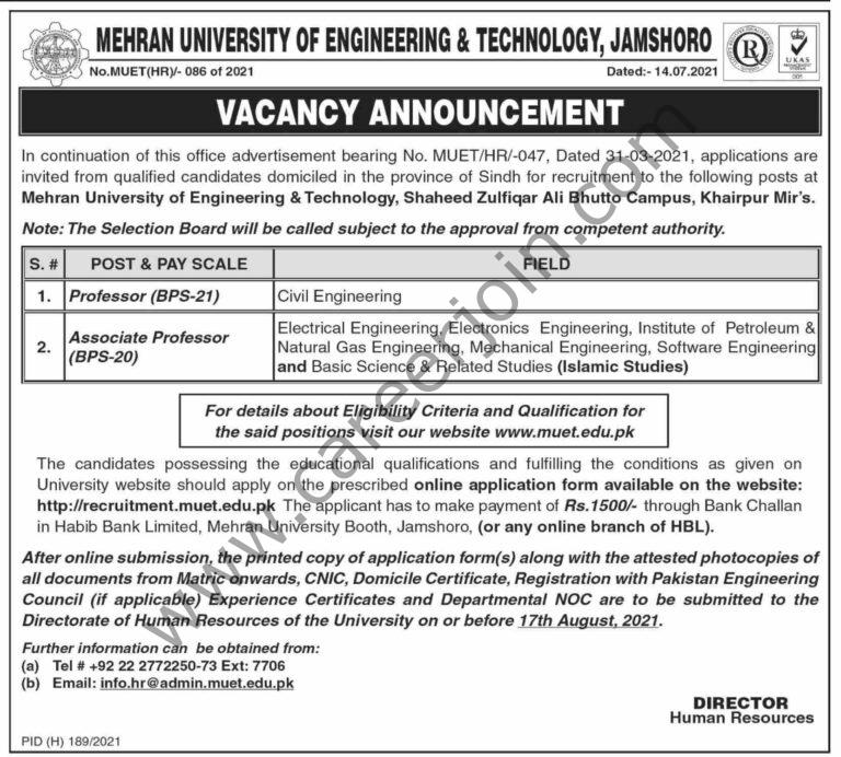 www.muet.edu.pk Jobs 2021 - Mehran University Of Engineeing & Technology Jobs 2021 in Pakistan