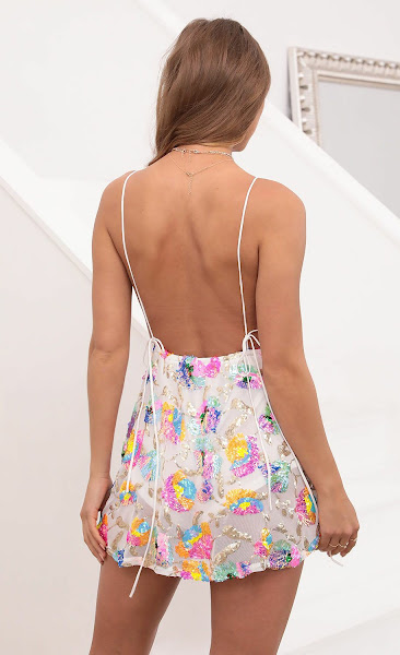 Skylar Sequin Dress In White Multicolor