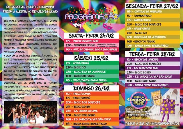 Programação do Carnaval 2017 em Registro-SP