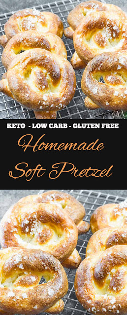 Keto Low Carb Pretzels Recipe - Homemade Soft Pretzel - Gluten Free #keto #glutenfree #lowcarb #pretzel #healthysnacks #snack