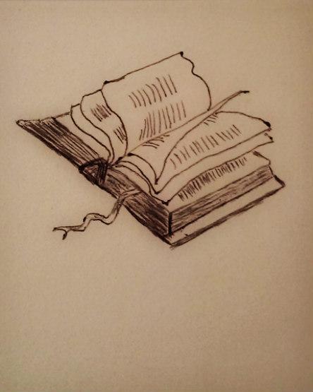 Book doodle in ink