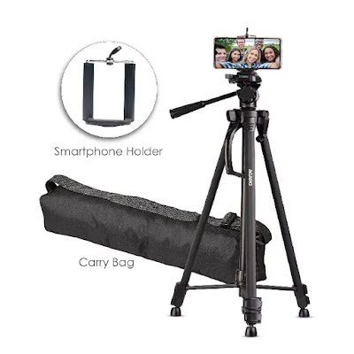 AGARO - 33403 Adjustable Camera Tripod Stand with Mobile Phones Clip | Best Tripod for DSLR and Mobile in India | Best Tripod Reviews