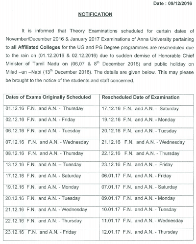 Anna University Revised Time Table Nov Dec 2016 for Postponed Exams