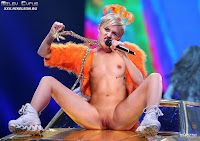 Miley Cyrus flashes pussy