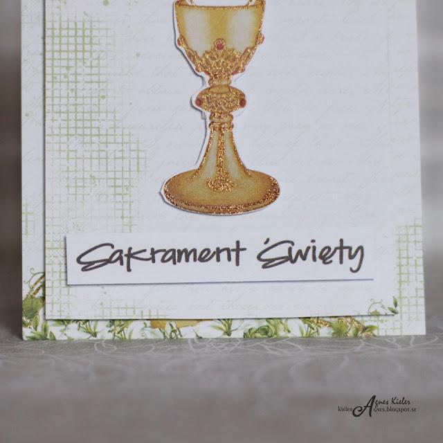 napis i kielich z arkusza do wycinania z kolekcji Holy Communion