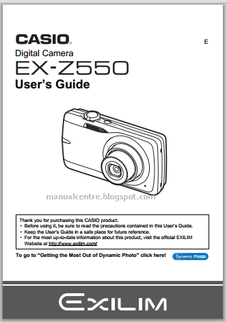 Casio Exilim EX-Z550 Manual Cover