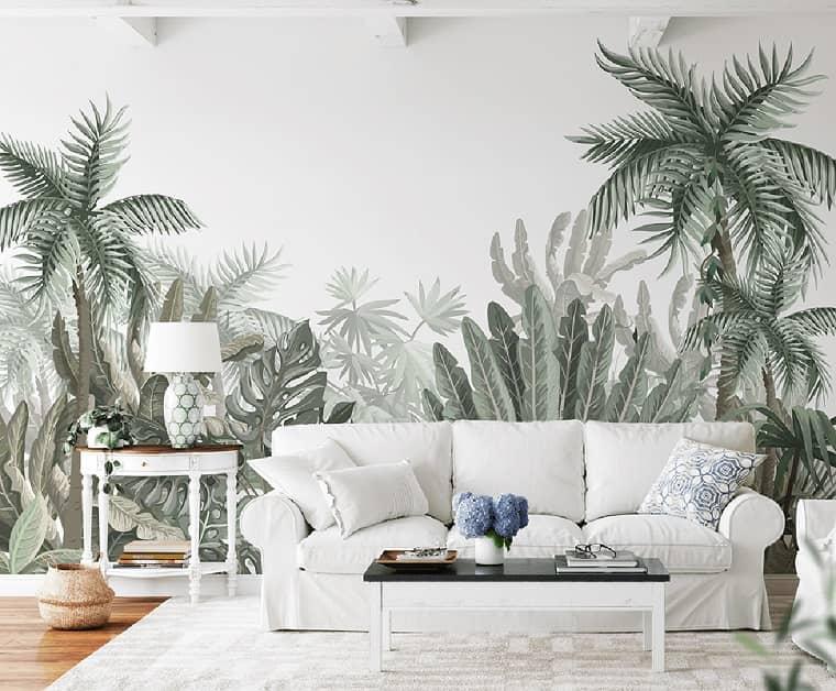 Jungle-themed wallpaper mural