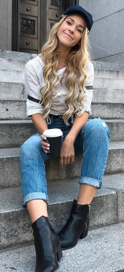 casual style obsession : hat + top + ripped jeans + boots