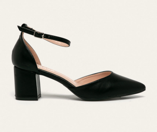 Answear - Pumps dama negri cu toc gros decupati pe lateral ieftini