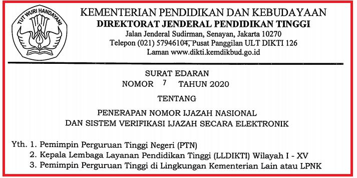 gambar surat edaran dirjen dikti no 7 tahun 2021