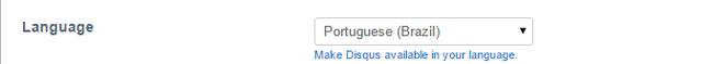 Nas configurações da Disqus, é possível alterar o idioma para o português.