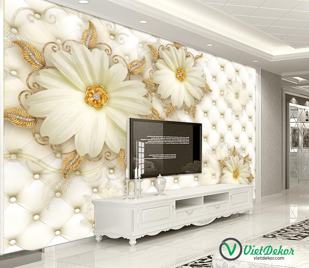 Tranh 3d dán tường hoa cúc trắng