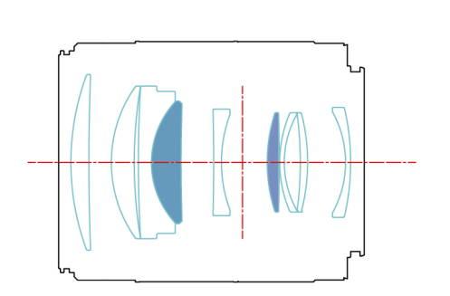 Оптическая схема объектива Yongnuo YnLens YN 85mm f/1.8R DF DSM AF