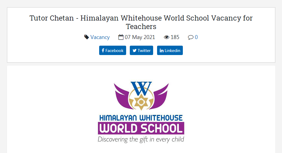 Himalayan Whitehouse World School, Tinkune Kathmandu Job Vacancy for Teachers