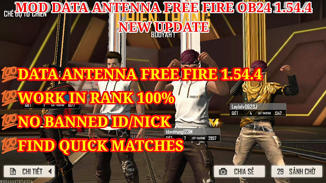 DOWNLOAD MOD DATA ANTENNA FREE FIRE OB24 1.54.4 NEW UPDATE - WORK IN RANK/ CLASSIC 100%, NO BANNED NICK 100%