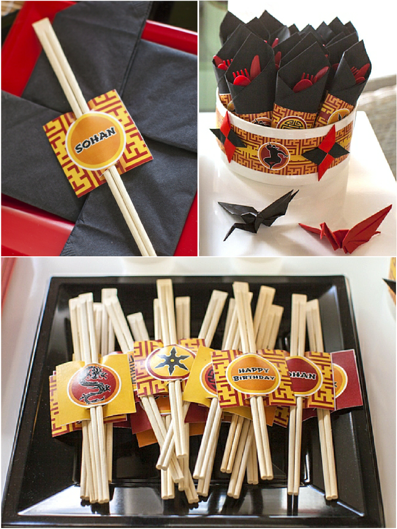 Ninja Japanese Birthday Party Table Decorations - via BirdsParty.com