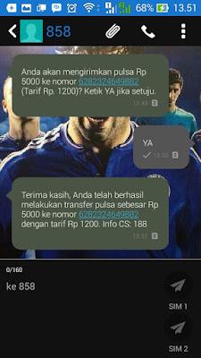 Transfer Pulsa Telkomsel berhasil