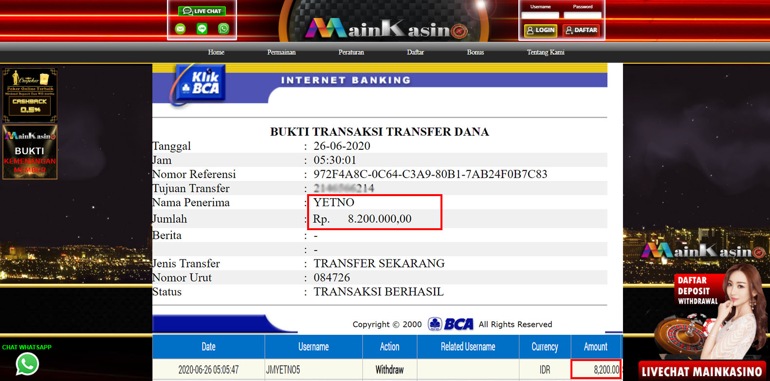 Selamat Kepada Member Setia MAIN KASINO Withdraw RP 8.200.000
