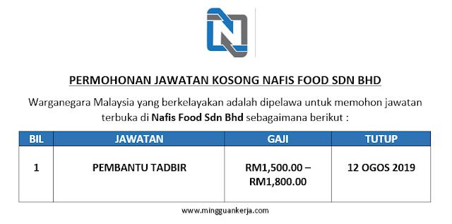 Pembantu Tadbir - Nafis Food Sdn Bhd