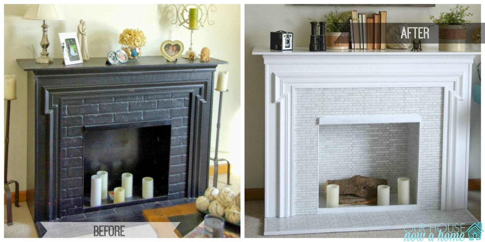 Easy L And Stick Tile Fireplace Surround Makeover