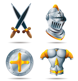 Pictures of a sword, helmet, shield and breastplate