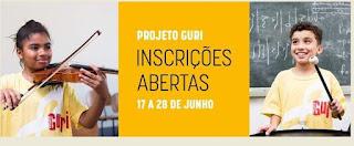 Projeto guri com inscrições abertas para aulas de violão e percussão