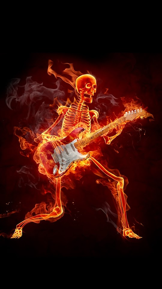 Burning Skeleton Playing The Guitar   Galaxy Note HD Wallpaper