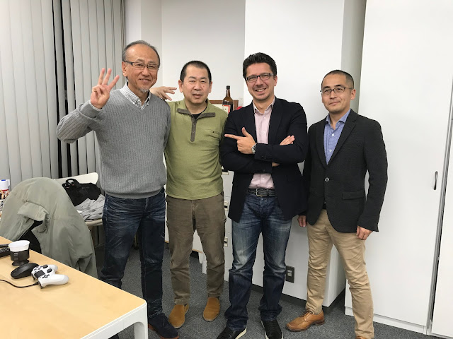 Group photo (from left: executive producer Harry Morishita, creator Yu Suzuki, co-producer Cédric Biscay).