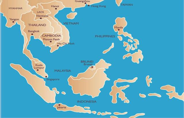 mappa asia sud est