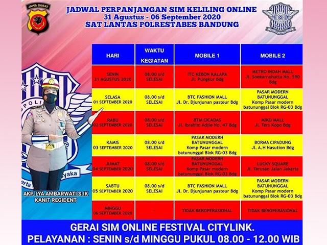 Jadwal Lengkap Layanan SIM Keliling Polrestabes Bandung Selama Bulan September 2020