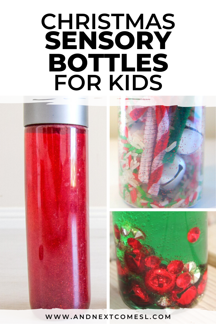 Christmas sensory bottles for kids of all ages - babies, toddlers, preschool, and up! They make a great addition to a calm down kit for kids.
