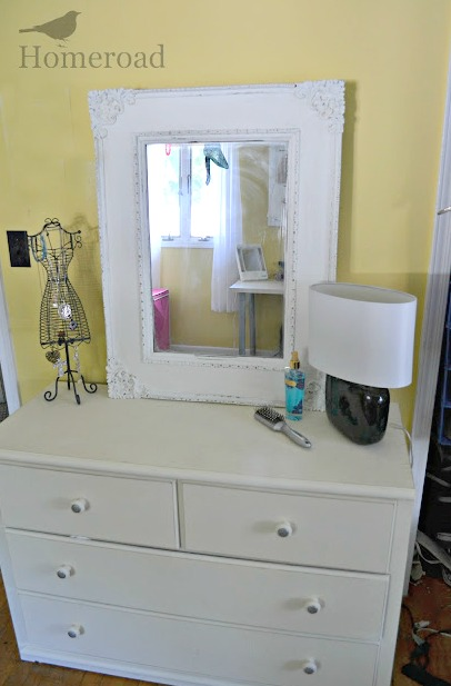 White dresser makeover and removing old veneer