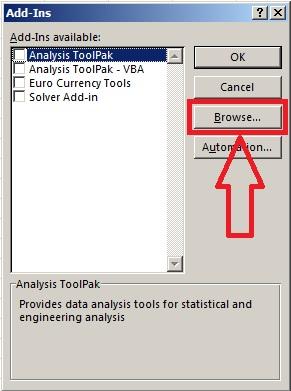 Hộp thoại Quản lý Add-Ins của Excel