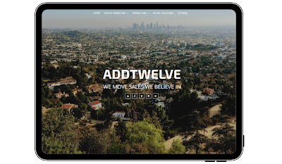 The most recent version of addtwelve's website on iPad Pro screen