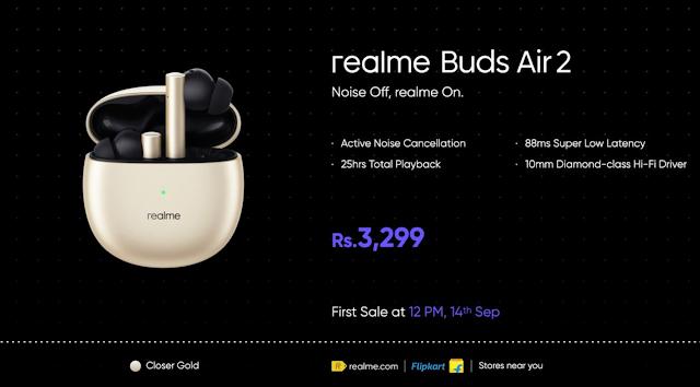 تكشف Realme عن مكبرات صوت محمولة تعمل بالبلوتوث ولون ذهبي لسماعة Realme Buds Air 2