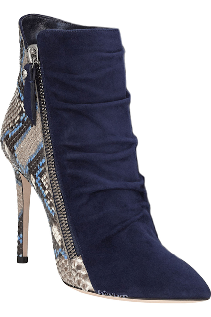 Jimmy Choo Dayton navy violet blue painted python suede ankle bootie #brilliantluxury