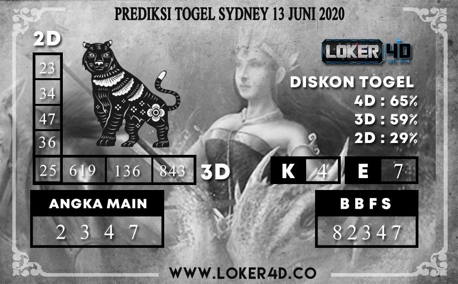 PREDIKSI TOGEL SYDNEY 13 JUNI 2020