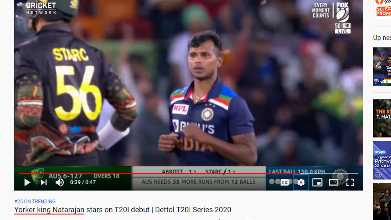 Australian Official YouTube Cricket Channel Praises Natarajan as Yorker King