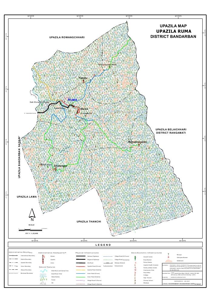 Ruma Upazila Map Bandarban District Bangladesh