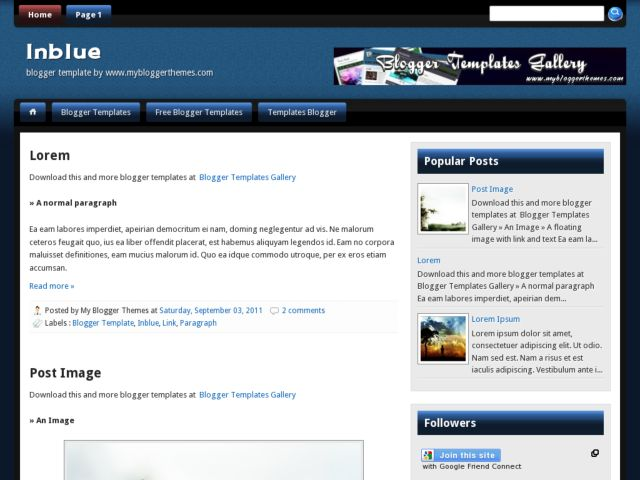 Inblue Blogger Template