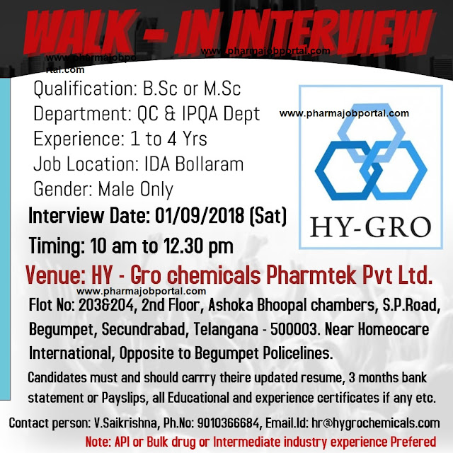 HYGRO Walk In Interviews For QC & IPQA Department at 1 September