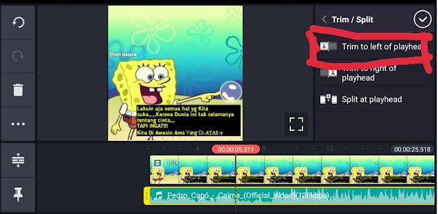 klik pangkas ke kiri playhead atau term to left playhead untuk memotong lagu