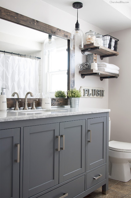 Dark gray vanity in bathroom