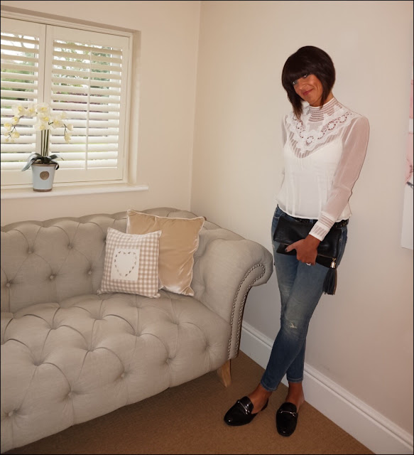 My Midlife Fashion, Laura Ashley High Neck Lace Bib Silk Blouse, marks and spencer trim mule loafer with insolia flex, zara skinny jeans