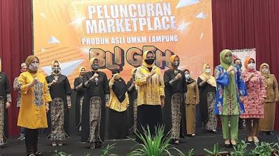 "Ketua Dekranasda Lampung Riana Sari Arinal Launching Aplikasi Marketplace ""Bligeh"" Produk UMKM"