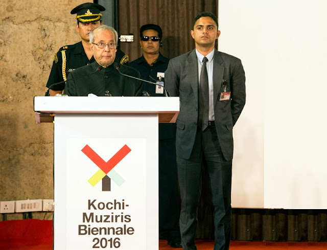 President Shri  Pranab Mukherjee delivers the inaugural speech for a seminar titled 'Importance of sustainable culture-building' as part of Kochi Biennale 2016 at Cabral Yard Pavilion, Fort Kochi.
