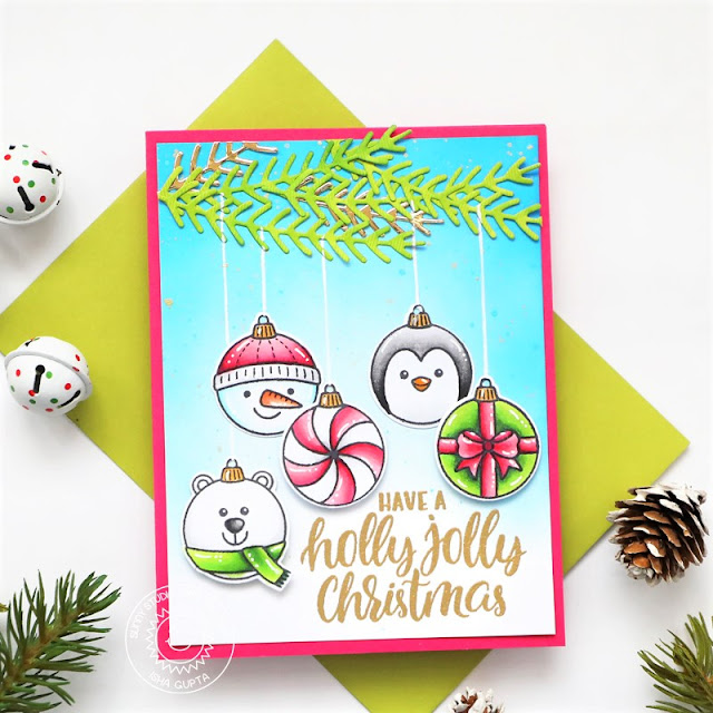 Sunny Studio Stamps: Deck The Halls Winter Greenery Dies Christmas Card by Isha Gupta