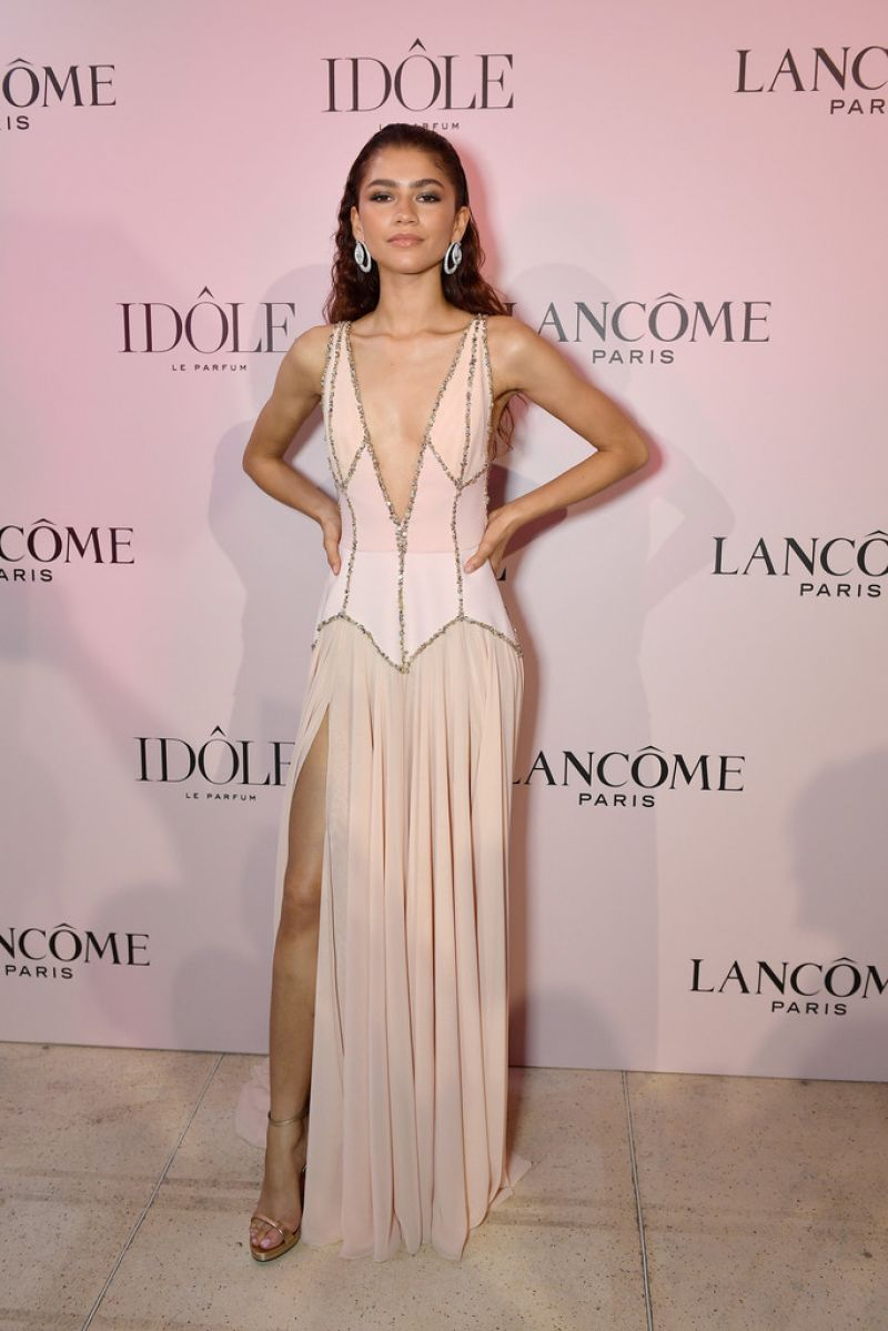 Zendaya bares cleavage at Lancome fragrance launch in Paris