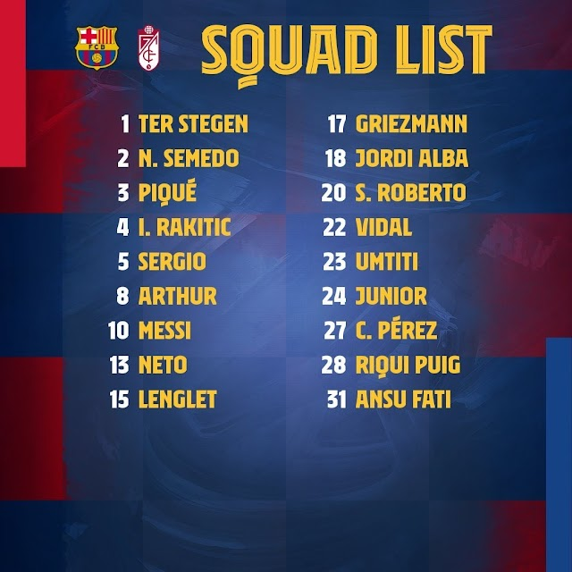 Messi & Griez lead Barca squad for Granada clash, Ter Stegen, Puig & Arthur in